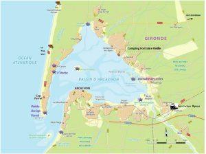 La carte du bassin d'Arcachon