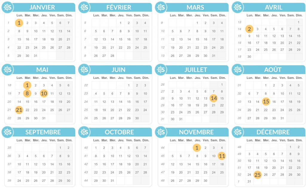 jours fériés 2018