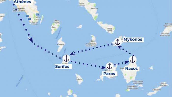 itinéraire des Cyclades Samboat