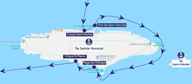 Île saint honorat plages bateau vin