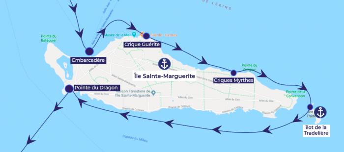 Ile Sainte Marguerite itinéraire bateau plages criques