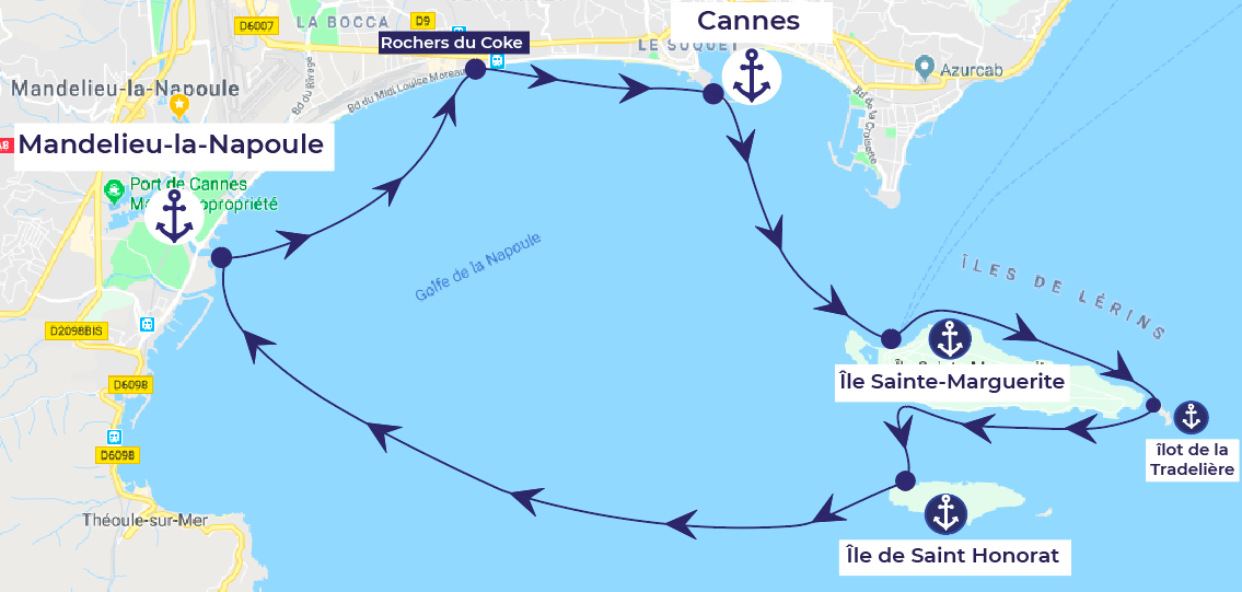 itinéraire bateau alpes maritimes cannes mandelieu-la-napoule îles du lerins