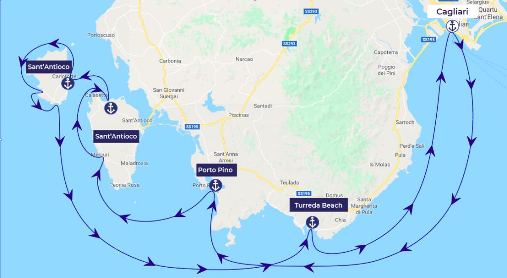 itinéraire bateau sardaigne du sud