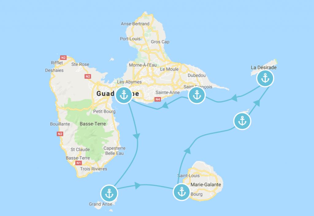 Itinéraire en bateau en Guadeloupe de plusieurs jours à faire en catamaran, voilier où bateau à moteur