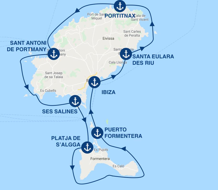 itinéraire pour une croisière en bateau au départ d'ibiza