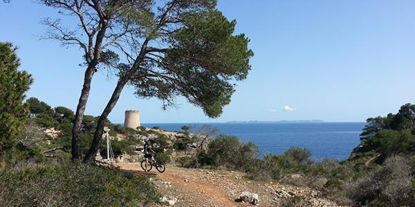 Photo d'un sentier à Cala Pi devant la mer, où se dresse plus loin la Torre de Cala Pi.