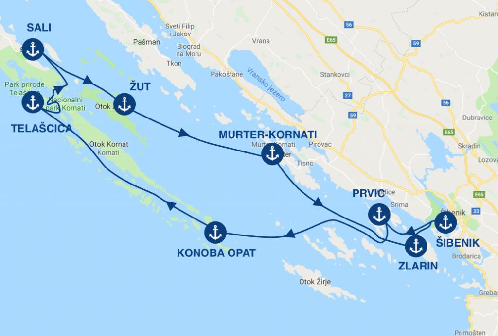 Itinéraire pour une croisière en bateau au départ de Sibenik