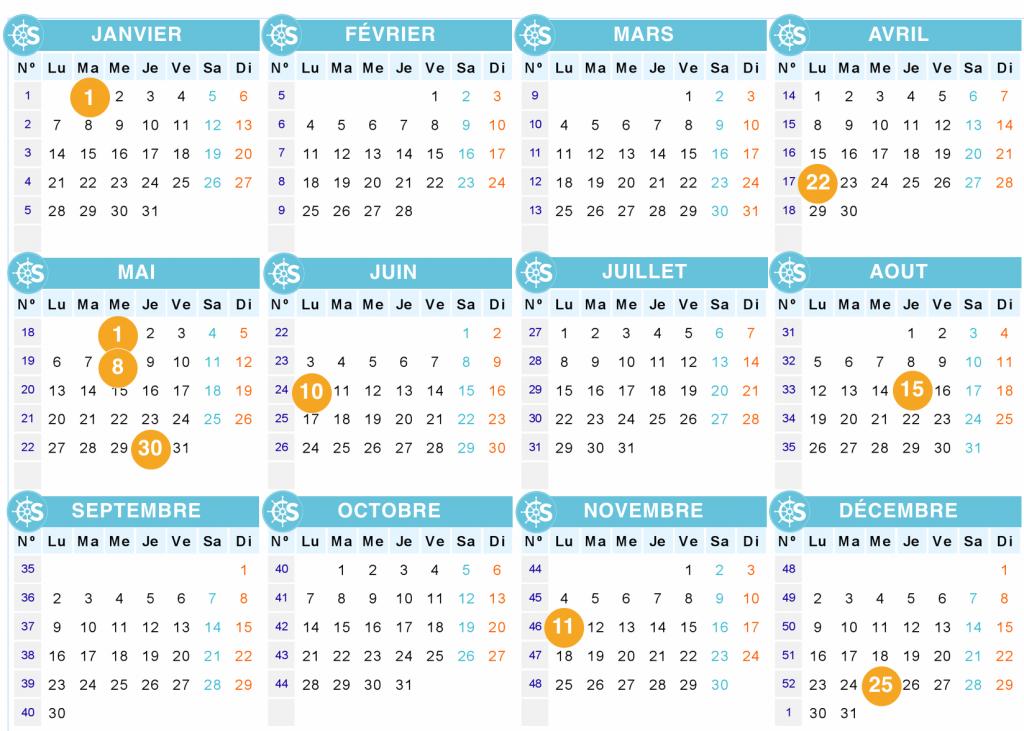Calendrier des jours fériés et des ponts en 2019