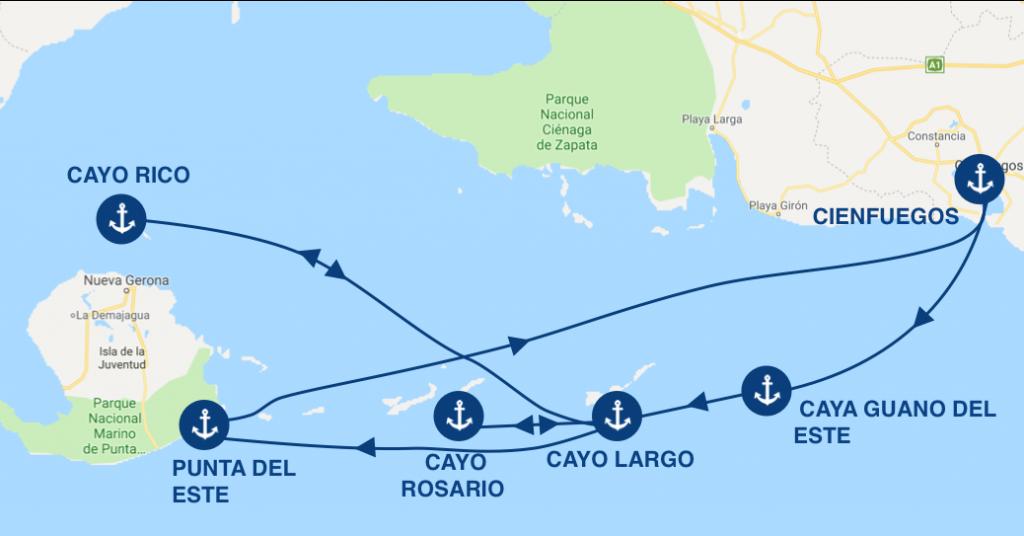 itinéraire en bateau à cuba pendant 7 jours