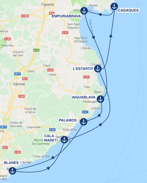 un itinéraire de 7 jours en bateau sur la costa brava en espagne