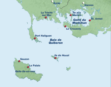 La carte de la baie de Quiberon