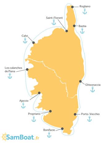 Carte Corse Ajaccio.Tour De La Corse En Bateau 10 Escales De Reve Blog Samboat