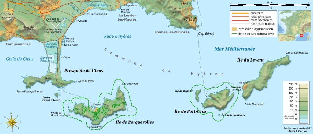 La carte des îles d'Hyères