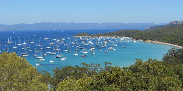 Les bateaux entourés de la végétation colorée de l'île de Porquerolles