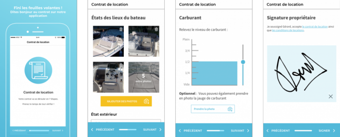 Captures d'écran de l'application smartphone SamBoat