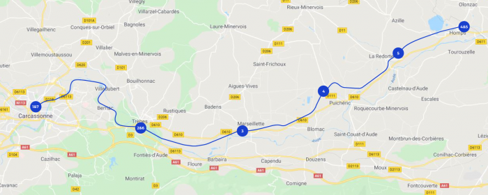 Hausboot-Route Carcansonne Hops