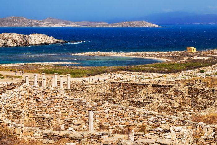 Vue sur les Ruines antiques sur l'île de Delos