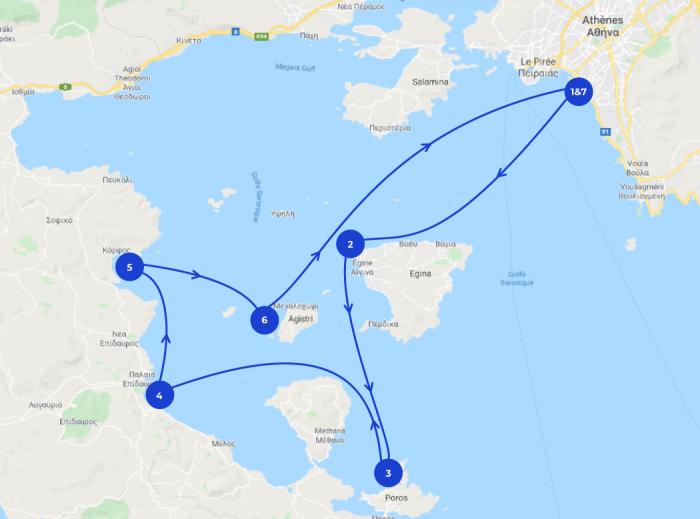 Carte itinéraire au départ d'Athènes, croisière Grèce