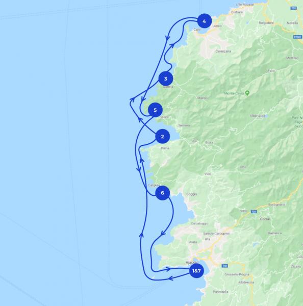 Map itinéraire de navigation en Corse