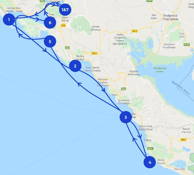 Carte itinéraire Monténégro pour une croisière en mer de 7 jours