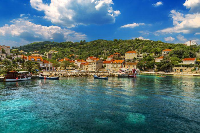 Croatie. Dalmatie du Sud - Île Elaphiti. L'île de Sipan ) située près de la ville de Dubrovnik.