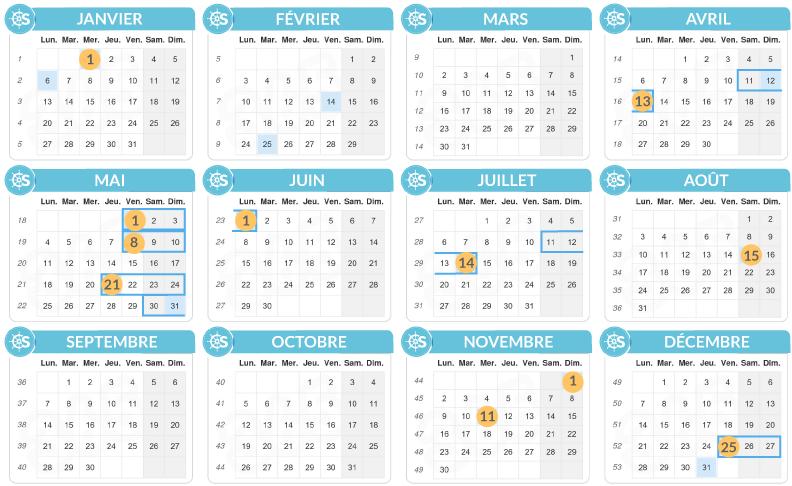Calendrier des jours fériés 2020 SamBoat