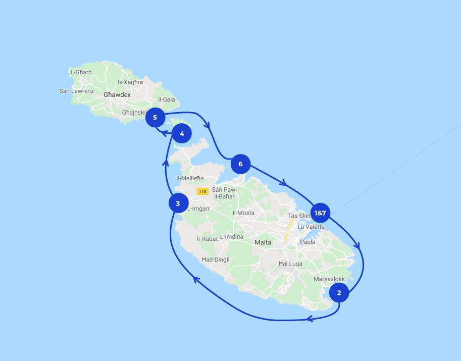 tracé de l'Itinéraire de navigation Malte