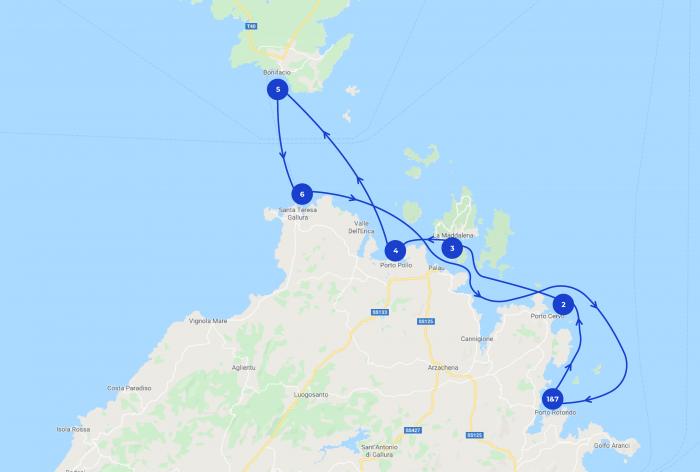 Map de cet itinéraire de croisière en Sardaigne