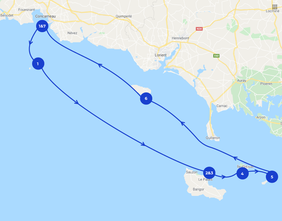 Map itinéraire de navigation Bretagne du Sud