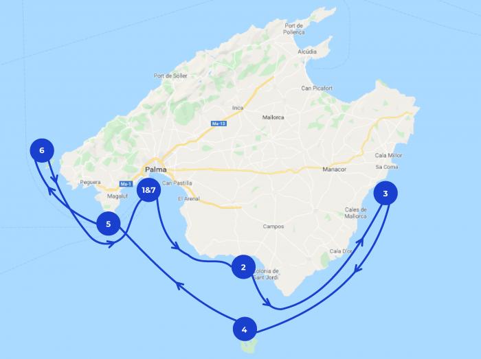 Map croisière à Majorque