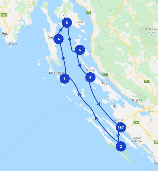 Itinéraire de croisière depuis Zadar