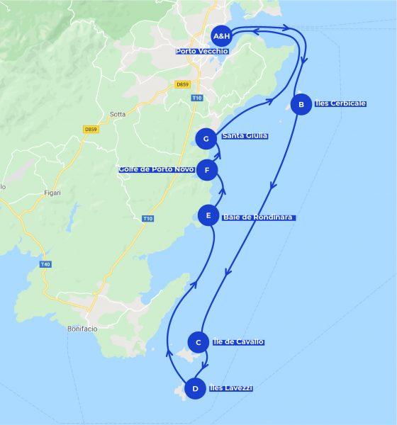 Carte itinéraire de navigation journée en bateau à Porto Vecchio