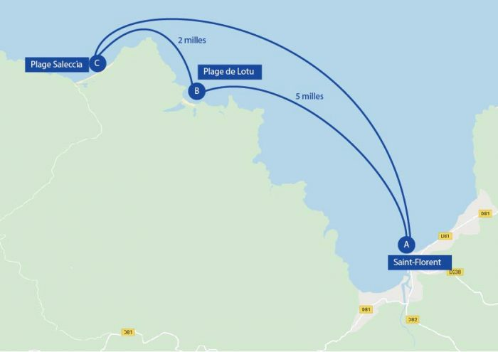 Itinéraire de navigation autour de Saint-Florent