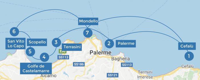 Itinéraire de navigation en Sicile