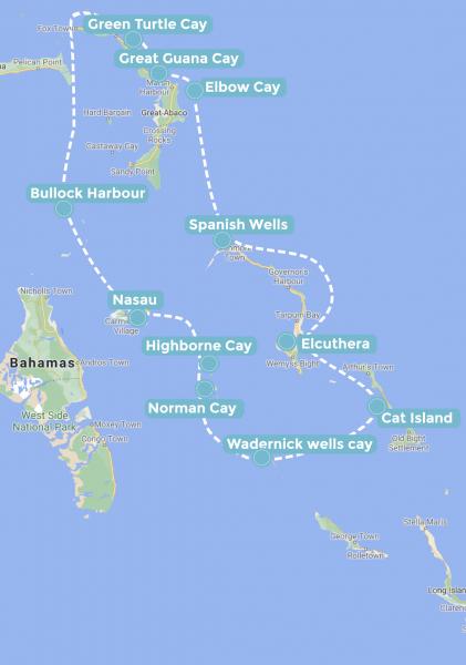 itinéraire de navigation dans les bahamas