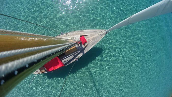 Prise de vue d'un voilier en haut du mât avec une eau turquoise.